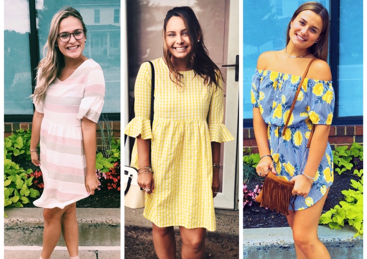 Yellow Gingham, Floral &, Contrast Striped Dresses | Shein Collab